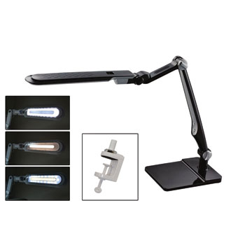 LED Lamp with Double Bench Clamp - Black