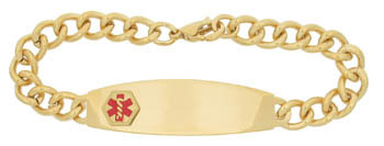 Medical Alert Bracelet Men's Gold Plate DTJ-36