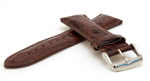 Genuine Crocodile Watch Strap Brown 22
