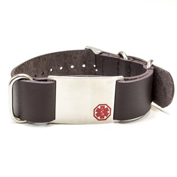 Black Leather Medical Alert Band
