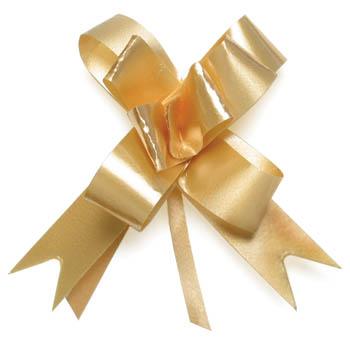 Gift bows magic pull metallic gold negle Images